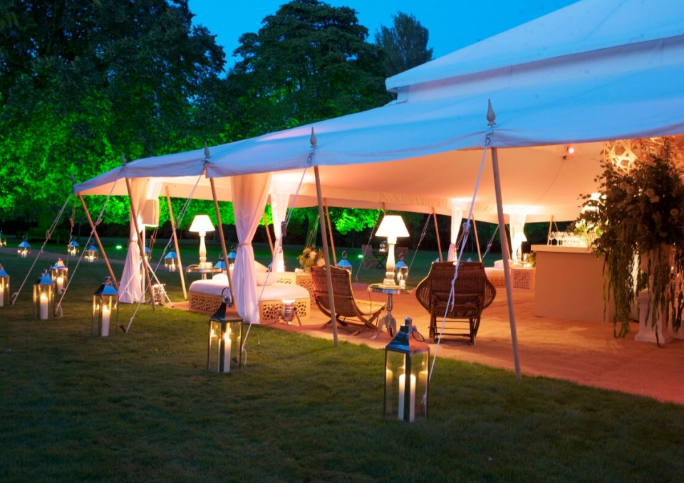 Outdoor marquee tent decor